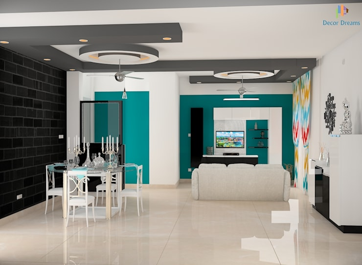 DLF Woodland Heights, 3 BHK - Mrs. Darakshan:  Living room by DECOR DREAMS,