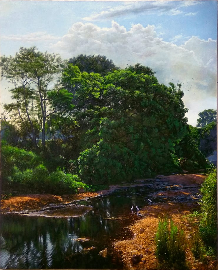 National park river-after monsoon:  Artwork by Indian Art Ideas