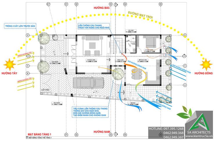 Mặt bằng tầng 1:  Biệt thự by CÔNG TY CỔ PHẦN KIẾN TRÚC 5A
