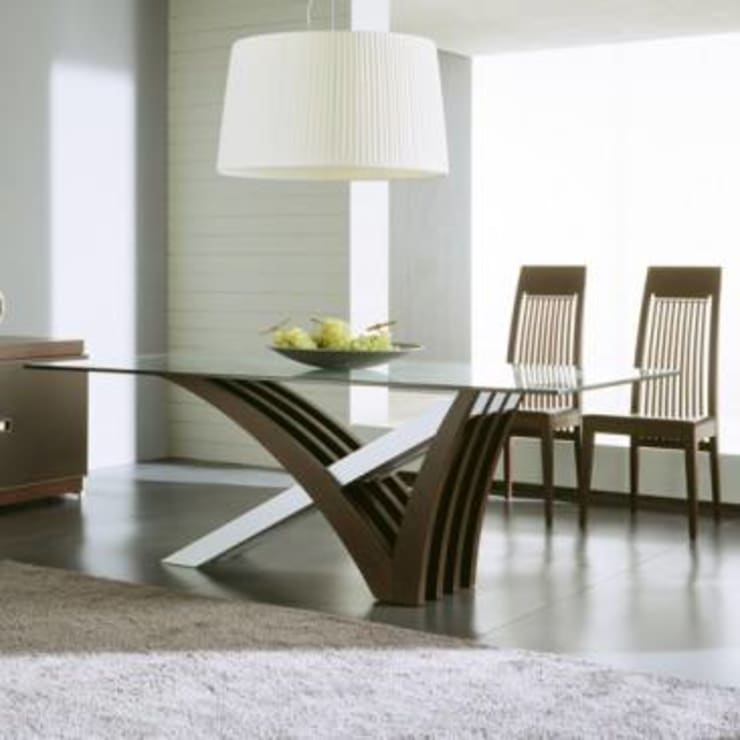 The Mirage Dining Table:  Dining room by Spacio Collections