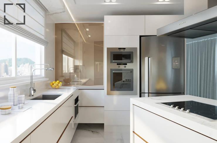 مطبخ ذو قطع مدمجة تنفيذ Rau Duarte Arquitetura