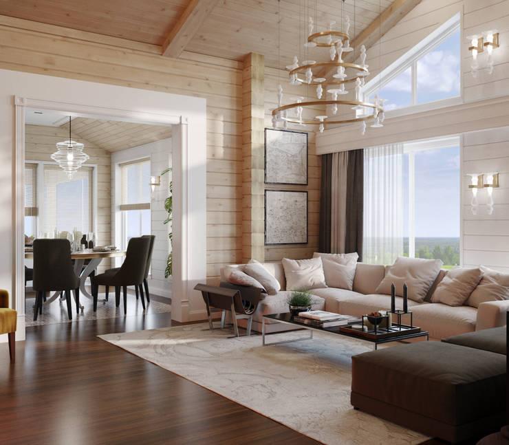Дом из клееного бруса в Репино: Гостиная в . Автор – Wide Design Group