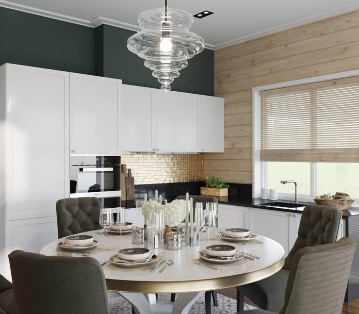 Дом из клееного бруса в Репино: Столовые комнаты в . Автор – Wide Design Group