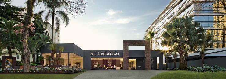 Nova fachada Artefacto Curitiba: Terraços  por Artefacto Curitiba,Moderno Concreto