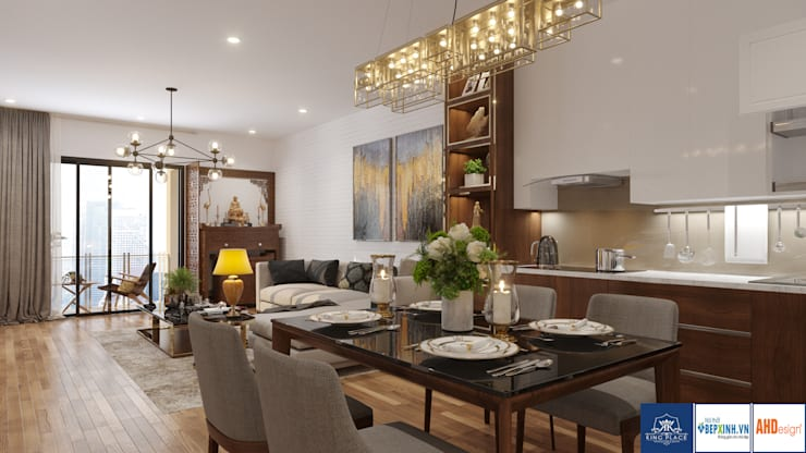 Thiết Kế Phòng Khách-Bếp:  Dining room by Công ty TNHH thiết kế nội thất KingPlace