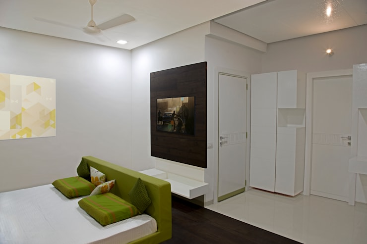 Single Family Private Residence, Ahmedabad: minimalistic Bedroom by A New Dimension