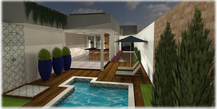 Albercas de jardín de estilo  por Roberta Branquinho- Arquitetura & Interiores