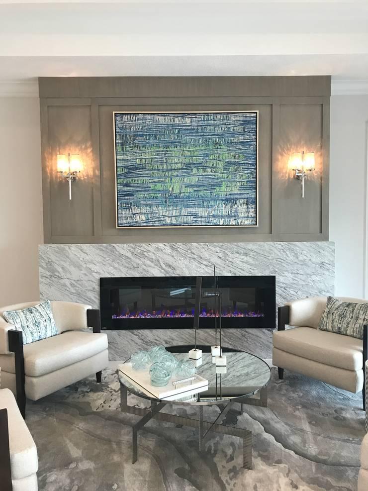 Chimenea / moderna y elegante: Salas de estilo moderno por Claudia Luján