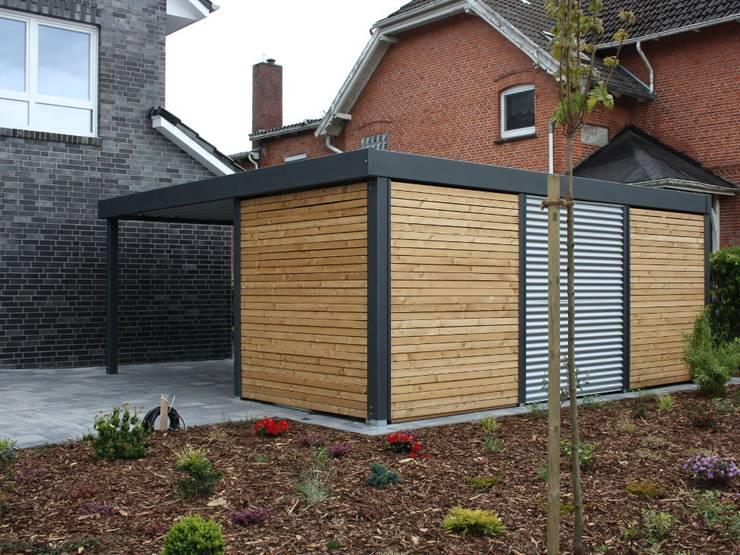 metallcarport mit ger teraum von carport schmiede gmbh. Black Bedroom Furniture Sets. Home Design Ideas