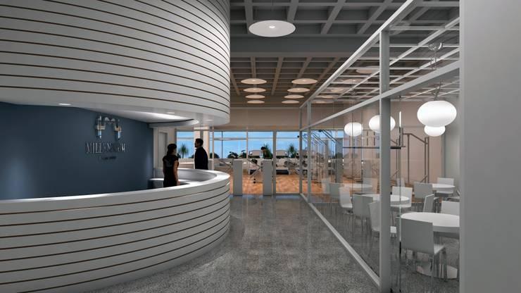 ACCESO AL GIMNASIO: Espacios comerciales de estilo  por OMAR SEIJAS, ARQUITECTO