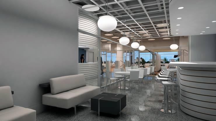 AREA DE RESTAURANT: Espacios comerciales de estilo  por OMAR SEIJAS, ARQUITECTO