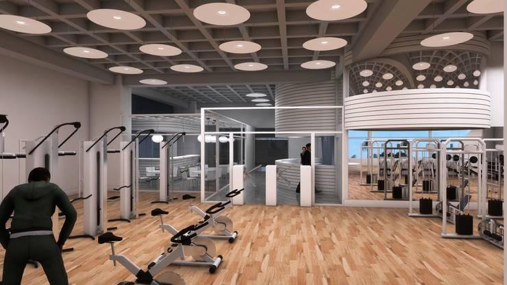 VISTA DEL CONTROL DE ACCESO: Espacios comerciales de estilo  por OMAR SEIJAS, ARQUITECTO