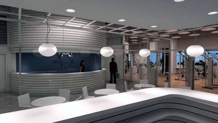 VISTA DE LA RECEPCIÓN: Espacios comerciales de estilo  por OMAR SEIJAS, ARQUITECTO