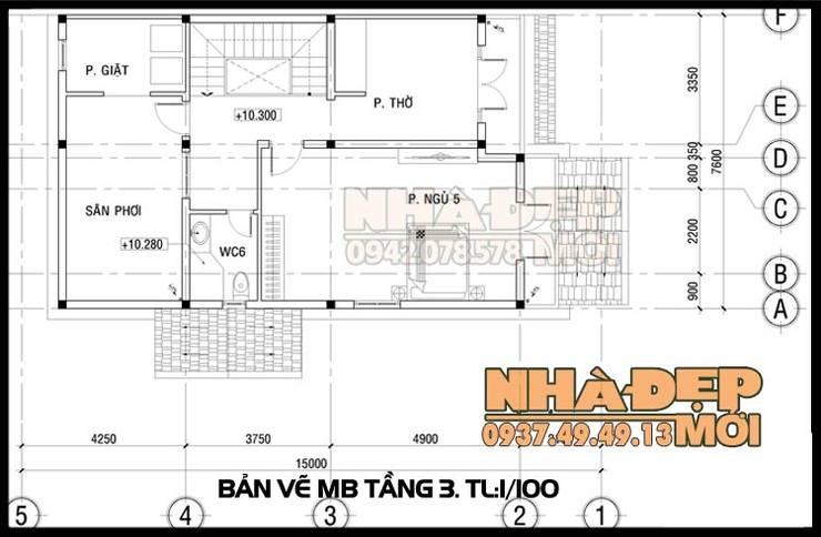 Bản vẽ phương án mặt bằng tầng 3:  Biệt thự by Công ty TNHH TKXD Nhà Đẹp Mới