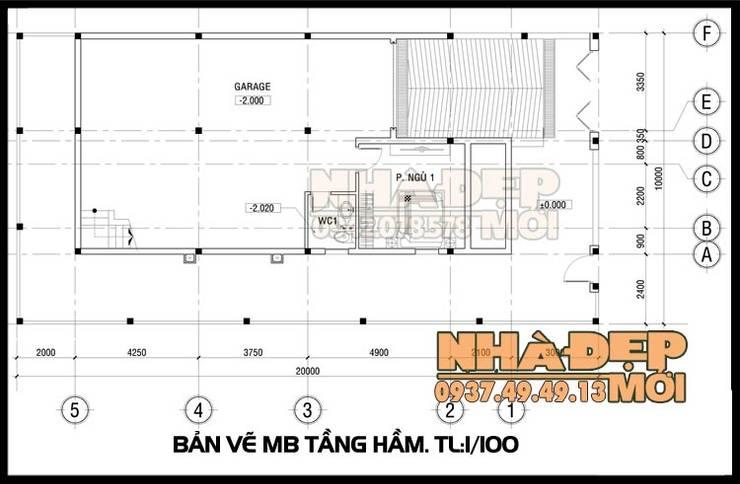 Bản vẽ phương án mặt bằng tầng hầm:  Biệt thự by Công ty TNHH TKXD Nhà Đẹp Mới