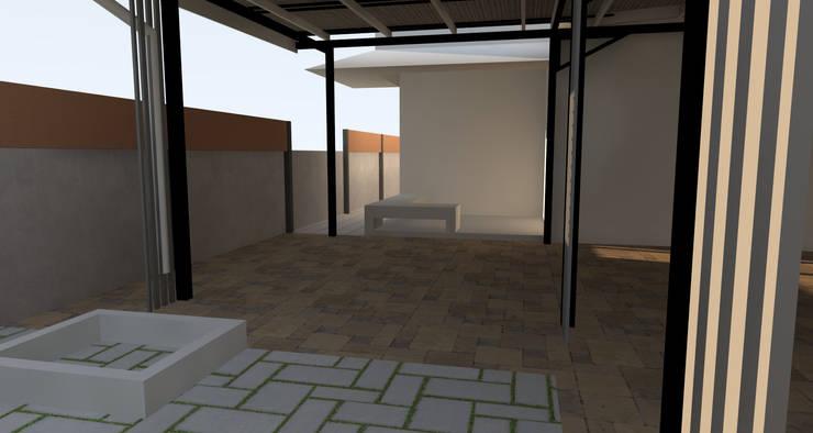 ต่อเติมงานรั้มคอนกรีตเดิม ให้เข้ากับงานโรงรถ :  บ้านและที่อยู่อาศัย by ออกแบบ เขียนแบบ ก่อสร้าง