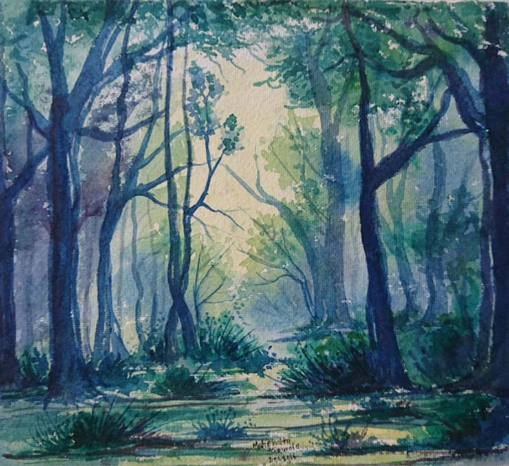 The Misty Forest: asian  by Indian Art Ideas,Asian