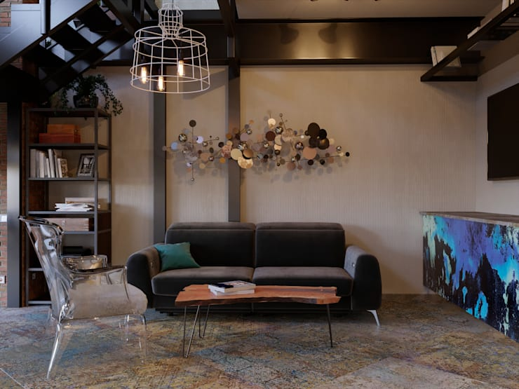 Living room by Ёрумдизайн, Industrial Iron/Steel