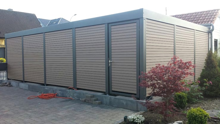 Stahlcarport WPC Wandverkleidung:  Carport von Carport-Schmiede GmbH & Co. KG Hersteller für Metallcarports und Stahlcarports