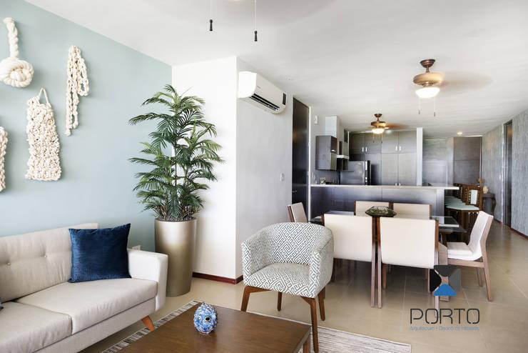 Salas / recibidores de estilo mediterraneo por PORTO Arquitectura + Diseño de Interiores