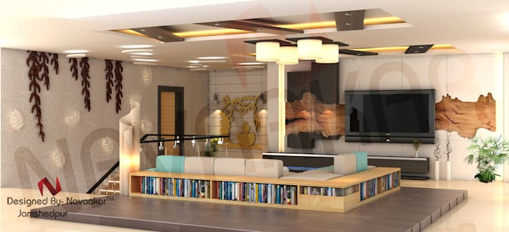 project in West bengal:  Living room by Navaakar