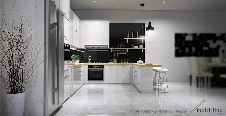Kitchen – Taman Palm:  Dapur built in by Multiline Design