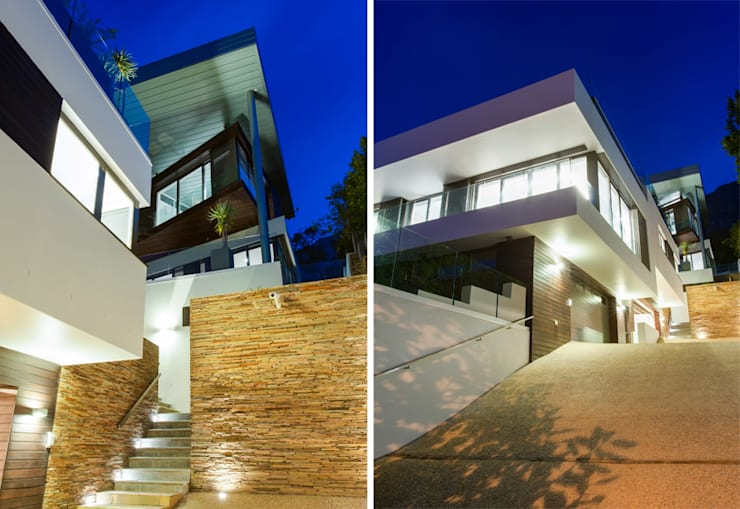 Main house facade from driveway:  Houses by sisco architects