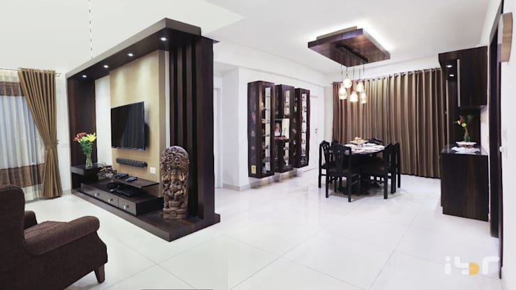 Living tv unit:  Living room by Interiors by ranjani