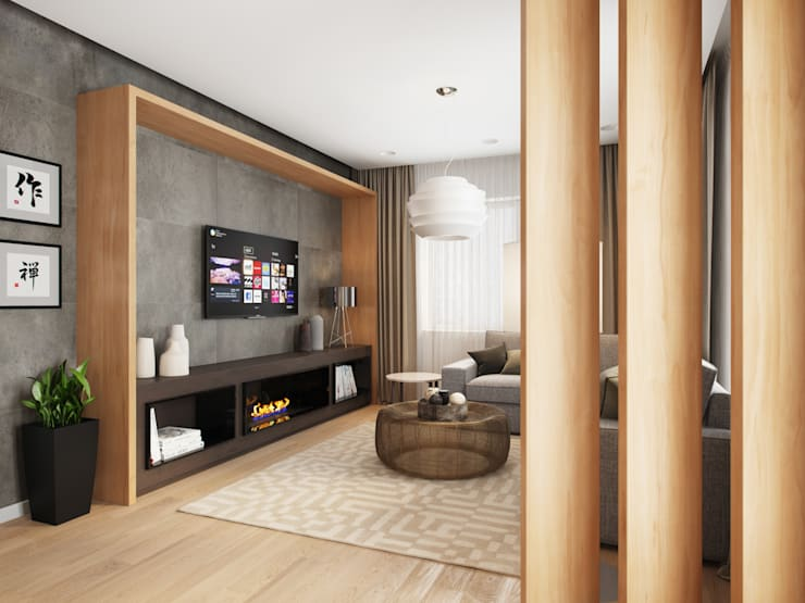 House in Tomsk: modern Living room by EVGENY BELYAEV DESIGN