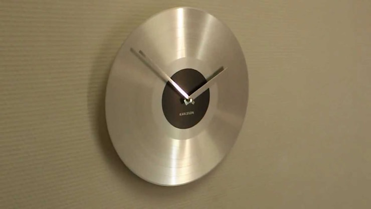 Karlsson Platinum Record Aluminium Silver Wall Clock:  Study/office by Just For Clocks