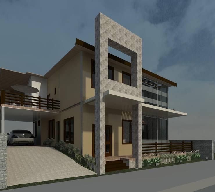 Fachada principal- lateral : Casas de estilo moderno por Diseño Store