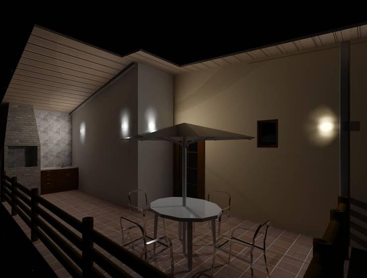 Vista nocturna de la terraza: Terrazas de estilo  por Diseño Store