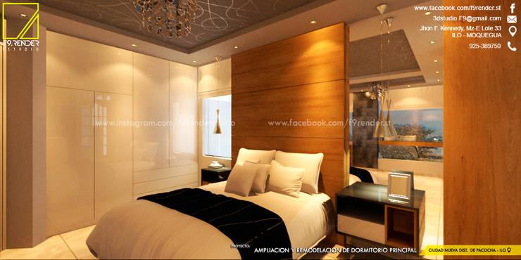 Vista de Cabecera en Melamine de 18mm con textura de Madera Natural _Contacto 925389750: Dormitorios de estilo  por F9.studio Arquitectos