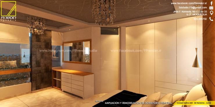 vista de las comodas existentes del propietario y vista del nuevo ropero en melamine _Contacto 925389750: Dormitorios de estilo  por F9.studio Arquitectos