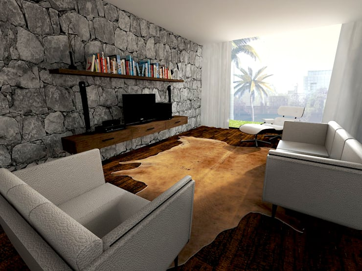 Modern Tropical Living:  Living room by Atelier Ara