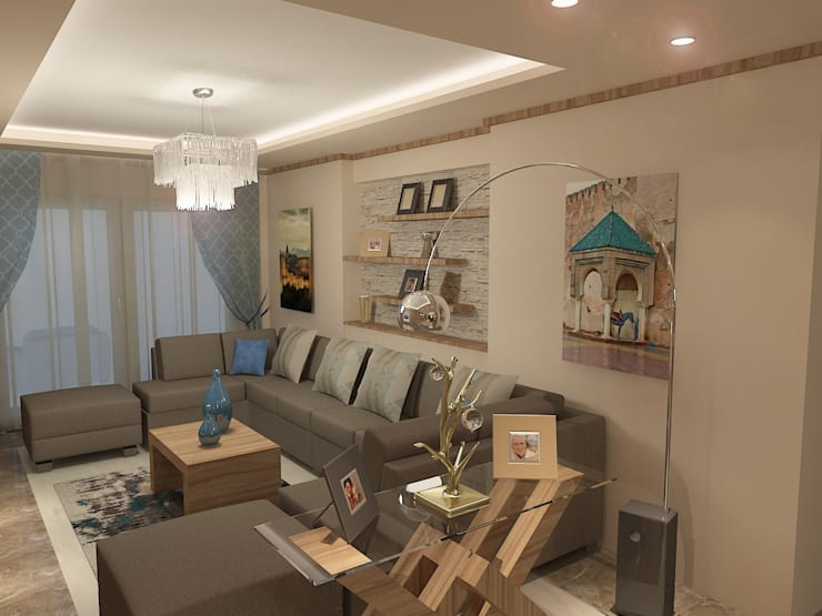 recepation area render 1 :  غرفة المعيشة تنفيذ Quattro designs