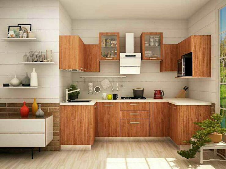 U-Shaped Modular Kitchen Design In Ghaziabad & Greater Noida: modern  by Wallsfloor.com,Modern Wood Wood effect