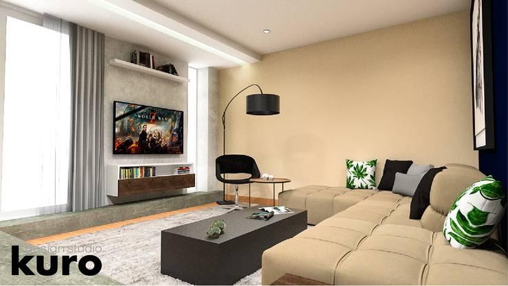 modern Media room by Kuro Design Studio