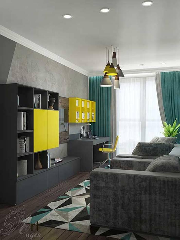 Дизайн однокомнатной квартиры: Гостиная в . Автор – Арт-Идея, Минимализм Бетон