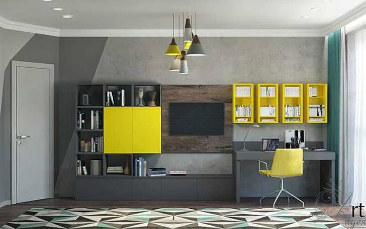 Дизайн однокомнатной квартиры- смелый дизайн интерьера: Гостиная в . Автор – Арт-Идея, Модерн Плитка