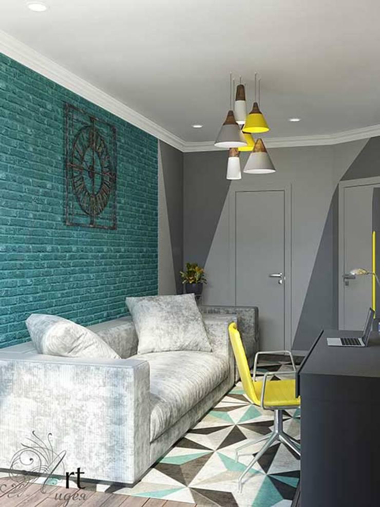 Дизайн однокомнатной квартиры яркие цвета: Гостиная в . Автор – Арт-Идея, Лофт Камень