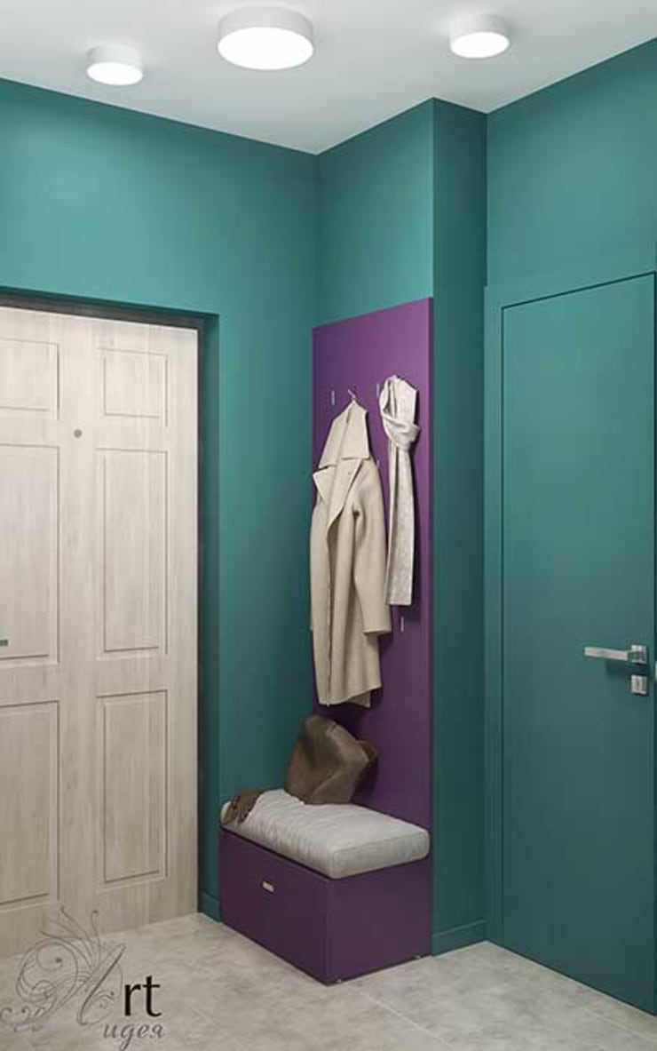 дизайн коридора яркого: Коридор и прихожая в . Автор – Арт-Идея, Минимализм Камень