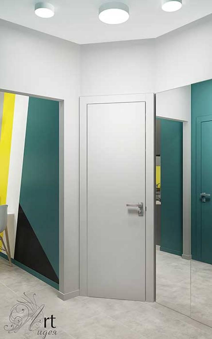 дизайн интерьера в однокомнатной квартире- коридор, холл: Стены в . Автор – Арт-Идея, Минимализм Дерево Эффект древесины