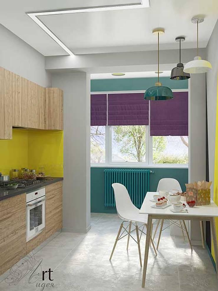 небольшая кухня в однокомнатной маленькой квартире: Кухни в . Автор – Арт-Идея, Минимализм Камень