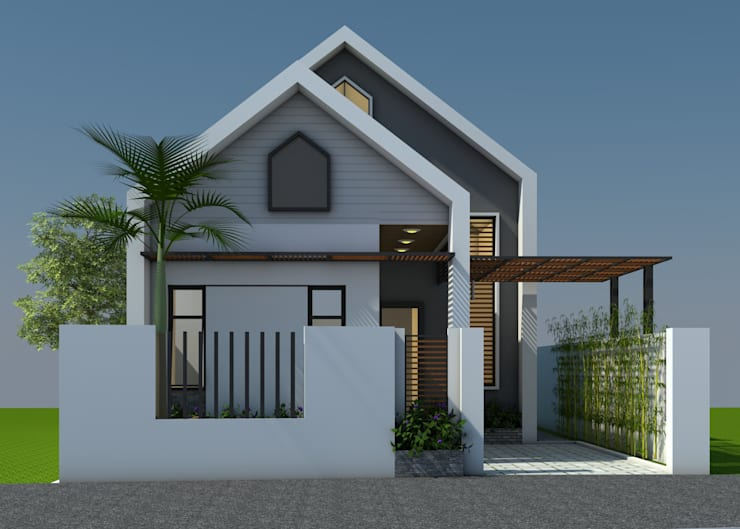 Nhà gác lửng hiên đại:   by Công ty TNHH CND Associates - Kiến trúc CND