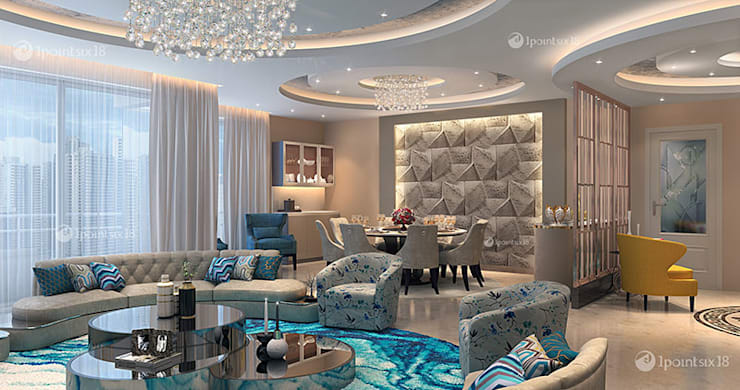 Apartment at The Belaire, DLF 5, Gurgaon (4200 sft): modern Living room by 1pointsix18