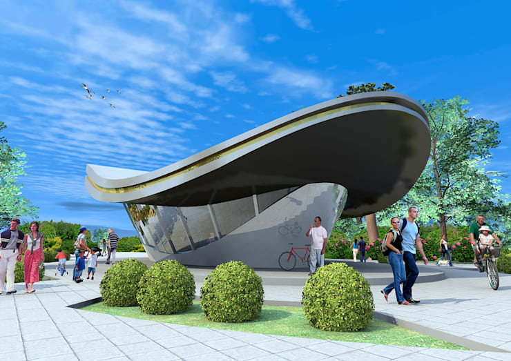 Выставочный павильон с мобильной функцией шоу-рума:  в . Автор – Проектная группа «Портал»