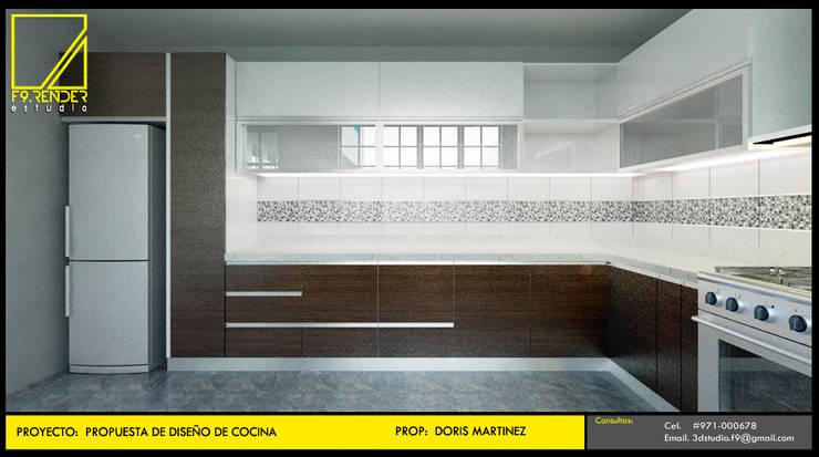 Vista Frontal de Cocina: Muebles de cocinas de estilo  por F9.studio Arquitectos, Moderno Aglomerado