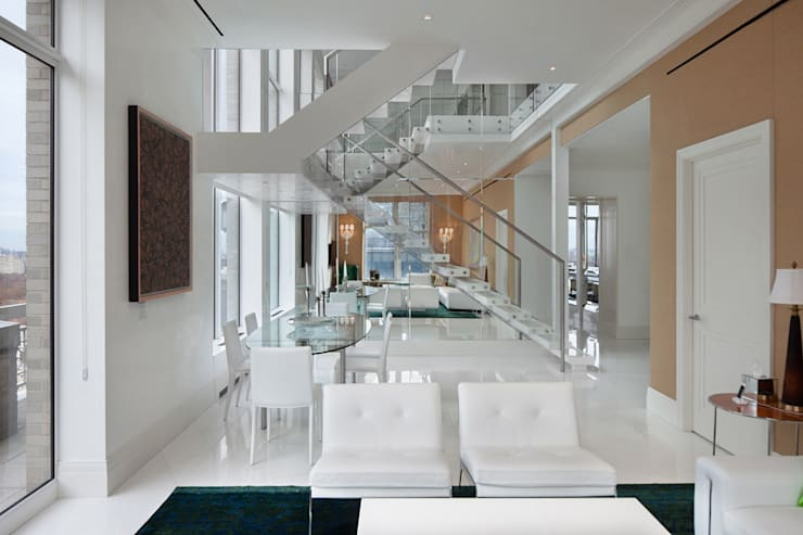 Park Avenue Duplex: modern Living room by andretchelistcheffarchitects