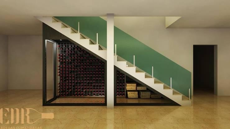 Projeto exclusivo em vão de escada: Adegas  por Edr Cristal - Adegas Climatizadas